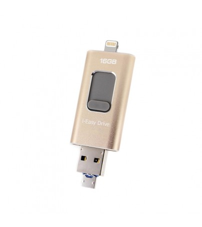 i-Flash Drive A88+16Gb With Micro USB 3.0 Memory Extrenal For IOS & Android (Gold)