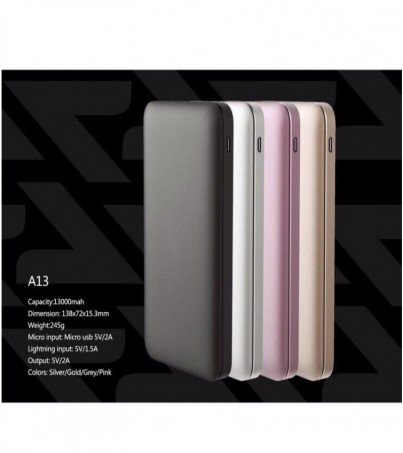 Alpha-x A13 Powerbank 13000mAh+usb charger cable 2A 20cm (Pink)