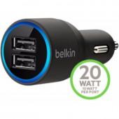 Belkin BEL-F8J109BTBLK ที่ชาร์จ หัวชาร์จในรถยนต์ 2 พอร์ต 20Watt 2.1A (10 Watt/2.1 Amp Per Port)