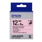EPSON Label LK-4EAY เทปพิมพ์อักษร 12mm เทาพื้นลายจุดชมพู