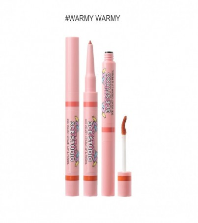 3CE STUDIO VELVET CREAM LIP & PENCIL WARMY WARMY