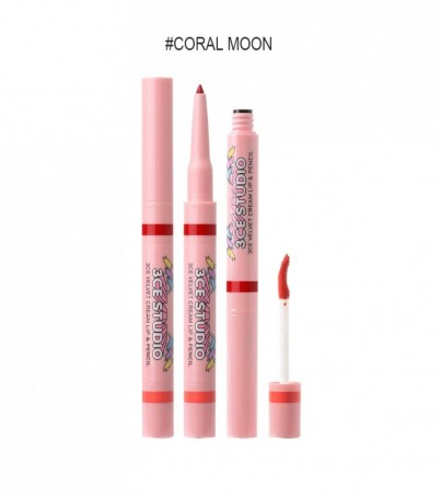 3CE STUDIO VELVET CREAM LIP & PENCIL CORAL MOON