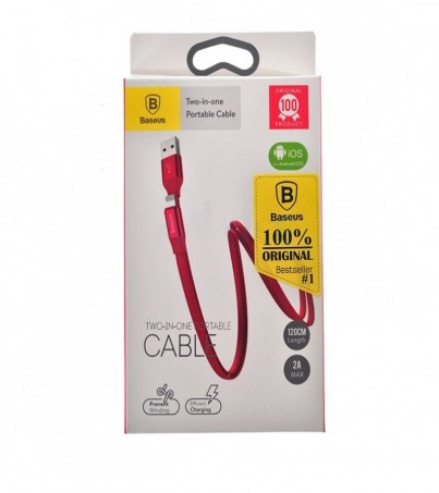 BASEUS Cable Charger 2in1 (1.2M Portable) Red