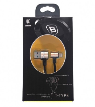 BASEUS Cable Charger 2in1 (1M T-Type) Gold