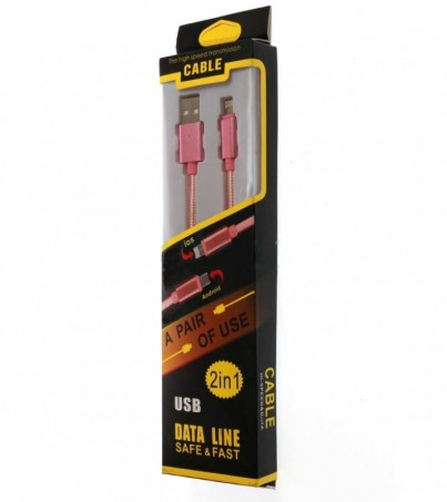 Cable Charger 2in1 (1.2M) Pink