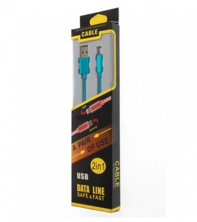 Cable Charger 2in1 (1.2M) Blue