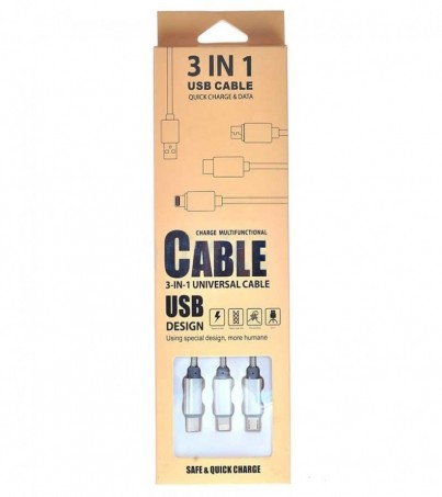Cable USB 3 in 1 Grey
