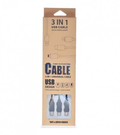 Cable USB 3 in 1 Black