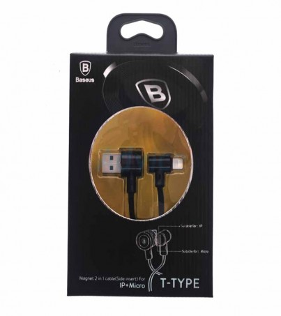 BASEUS Cable Charger 2in1 (1M T-Type) Black