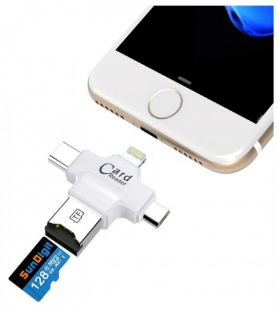 OTG 3in1 To USB+Card Reader White