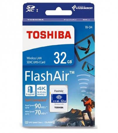 Toshiba FlashAir Wireless SD Card 32GB W04 (U3 CL10)