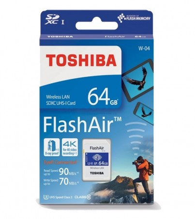 Toshiba FlashAir Wireless SD Card 64GB W04 (U3 CL10)