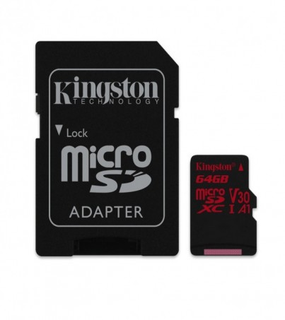 Kingston 64GB Canvas React UHS-I microSDXC Memory Card with SD Adapter