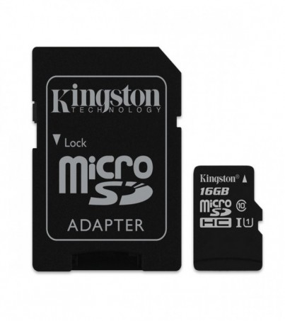 Kingston 16GB Canvas Select UHS-I microSDHC Memory Card with SD Adapter