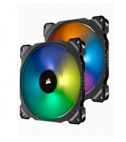 Corsair ML140 PRO RGB LED 140MM PWM Premium Magnetic Levitation Fan - Twin Fan Pack with Lighting Node PRO (CO-9050078-WW)