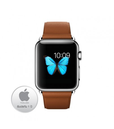 Apple Watch Stainless Steel Case 38M with Saddle Brown Classic Buckle