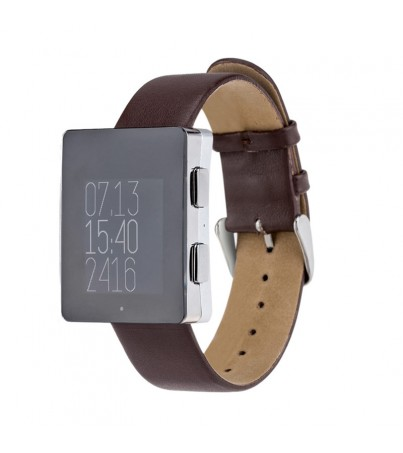 Wellograph Silver Satin - Brown Leather Strap