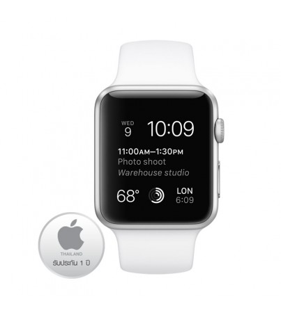 Apple Watch Silver Aluminium Case 38M with White Sport Band